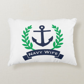 Navy Wife Anchor Accent Pillow