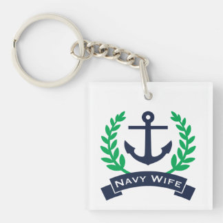 Navy Wife Anchor Keychain