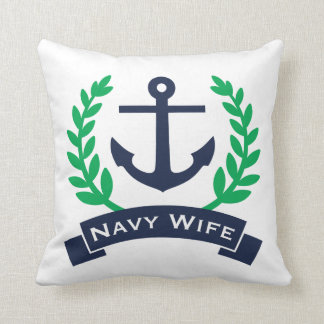 Navy Wife Anchor Throw Pillow