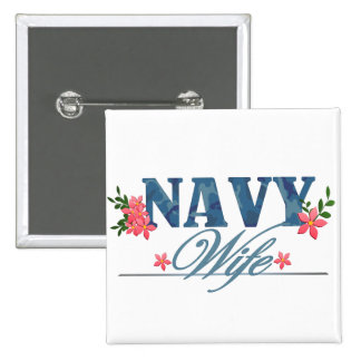 Navy Wife (Cammo) Button