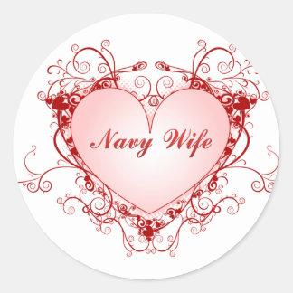 Navy Wife Heart Classic Round Sticker