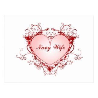 Navy Wife Heart Postcard