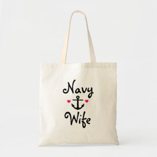 """Navy Wife"" Tote Bag"
