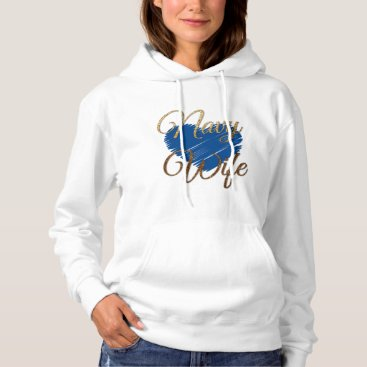 Navy Wifes Blue and gold heart love Hoodie