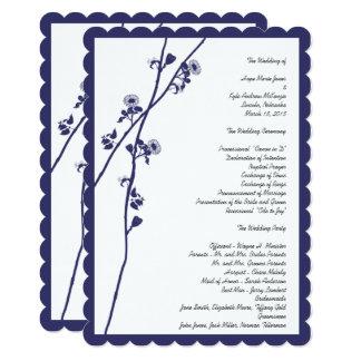 Navy Wild Flower Branches Wedding Program 5 x 7