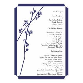 Navy Wild Flower Branches Wedding Program 5 x 7 Card