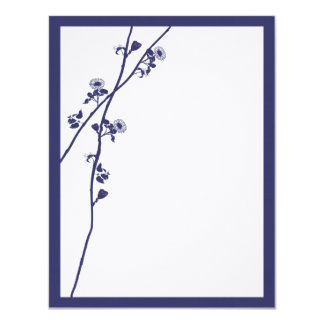 Navy Wild Flower Branches Wedding RSVP Personalized Invitations