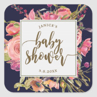 navy wildflower floral baby shower sticker favours