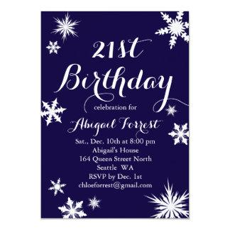Navy Winter 21st Birthday Invitation