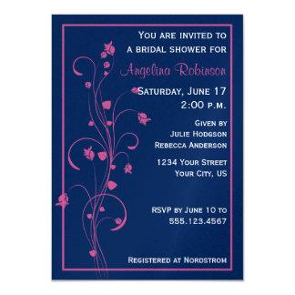 Navy With Pink Floral Design Bridal Shower Invitat Card