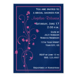 Navy With Pink Floral Design Bridal Shower Invitat Invitations