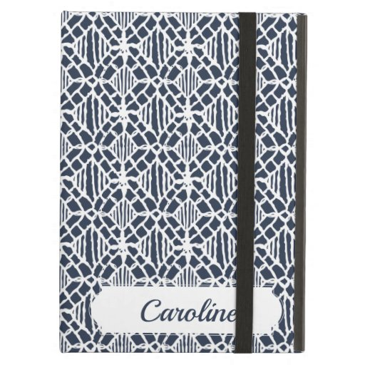 Navy With White Crochet Lace Pattern Case For iPad Air