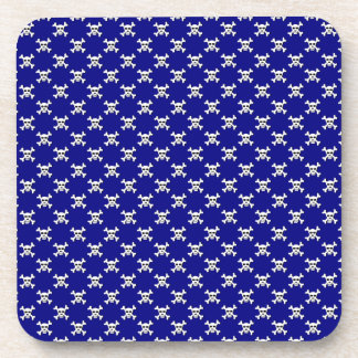 Navy with White Skull and Crossbones Polka Dots Drink Coaster