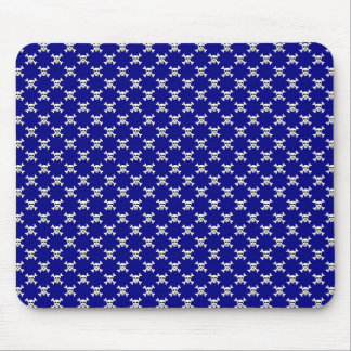 Navy with White Skull and Crossbones Polka Dots Mouse Pad