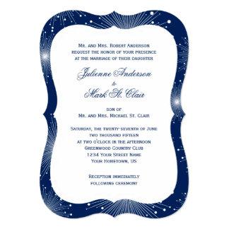 Navy With White Sunbursts Wedding 5x7 Paper Invitation Card