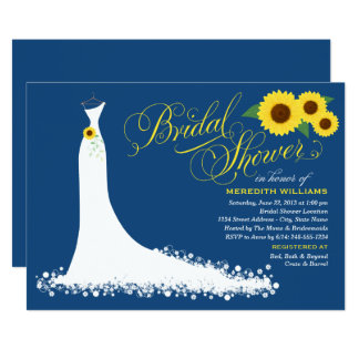 Navy with Yellow Sunflowers Elegant Bridal Shower Invitation