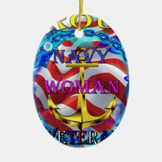Navy Woman Veteran Ceramic Ornament