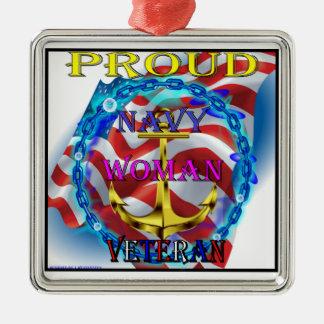 Navy Woman Veteran Metal Ornament