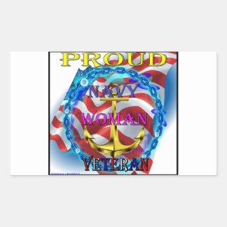 Navy Woman Veteran Rectangular Sticker