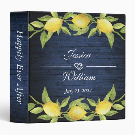 Navy Wood & Lemons Greenery Custom Wedding Binder