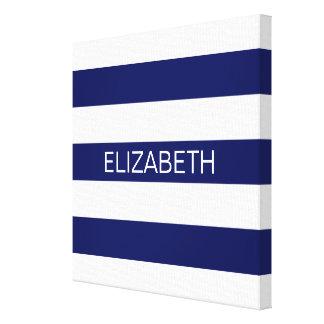 Navy Wt Horizontal Preppy Stripe #2 Name Monogram Canvas Print