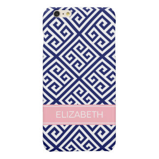 Navy Wt Med Greek Key Diag T #1 Pink Name Monogram Glossy iPhone 6 Plus Case