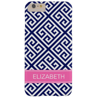 Navy Wt Med Greek Key Diag T Hot Pnk Name Monogram Barely There iPhone 6 Plus Case