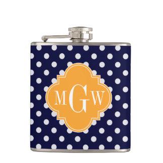 Navy Wt Polka Dot Cantaloupe Quatrefoil 3 Monogram Hip Flask