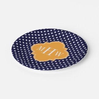 Navy Wt Polka Dot Cantaloupe Quatrefoil 3 Monogram Paper Plate