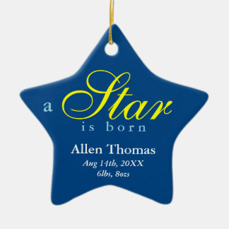 Navy yellow a star is born baby name announcement ornament