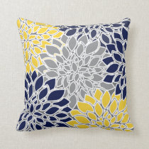 Navy, Yellow and Gray Floral Background Throw Pillow