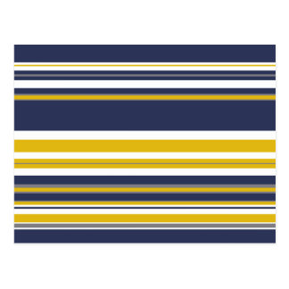 Navy Yellow and Gray Stripes Postcard