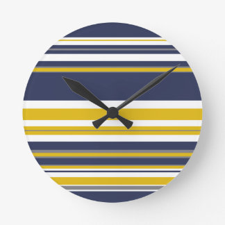 Navy Yellow and Gray Stripes Round Clock
