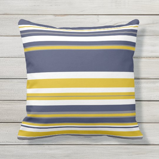 Navy Yellow And Gray Stripes Throw Pillow Zazzle Com