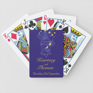 Navy & yellow birds wedding name playing cards