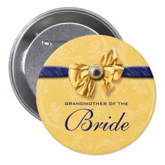 Navy yellow bridal party wedding button