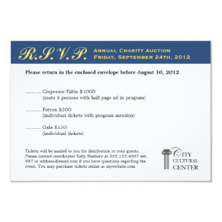 Navy yellow business gala event corporate RSVP Card