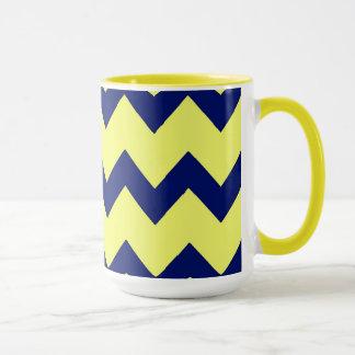 Navy Yellow Chevrons Mug