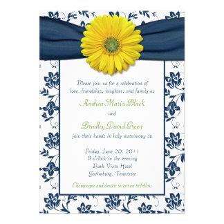 Navy Yellow Damask Daisy Wedding Invitation