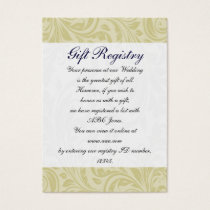 Navy Yellow  FAUX ribbon diamante buckle Wedding Business Card