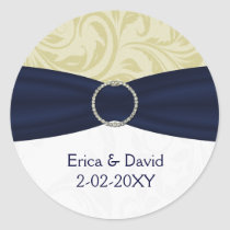 Navy Yellow  FAUX ribbon diamante buckle Wedding Classic Round Sticker