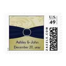 Navy Yellow  FAUX ribbon diamante buckle Wedding Postage