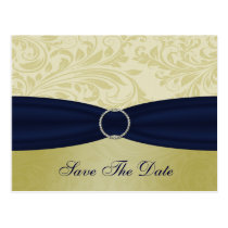 Navy Yellow  FAUX ribbon diamante buckle Wedding Postcard