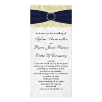 Navy Yellow  FAUX ribbon diamante buckle Wedding Rack Card