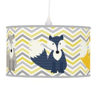 Navy, Yellow, Gray Foxes on Chevron Pendant Lamp