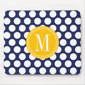 Navy & Yellow Green Big Polka Dots Monogrammed Mouse Pad