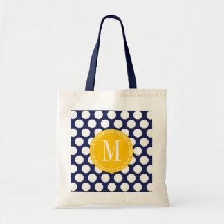 Navy & Yellow Green Big Polka Dots Monogrammed Tote Bag