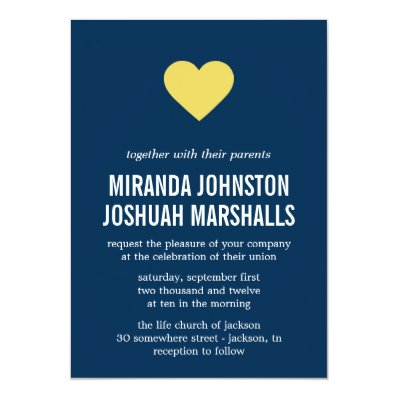 Navy & Yellow Heart Design Wedding Invitations