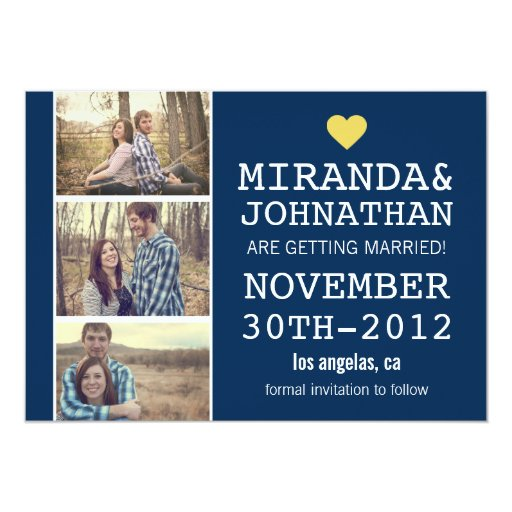 Navy & Yellow Photo Strip Save The Date Invites