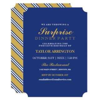 Navy & Yellow Stripes | Dinner Party Invitation